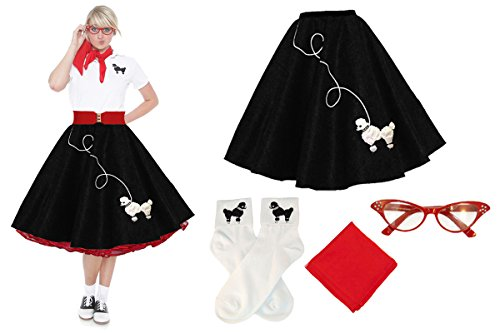 [Hip Hop 50s Shop Adult 4 Piece Poodle Skirt Costume Set Black and Red XSmall/Small] (Homemade Halloween Costumes For Baby Girl)