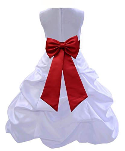 Wedding Pageant White Flower Girl Dress with Tiebow 808t 10