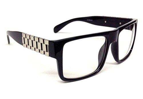 Metal Links Watch Band Square Hip Hop Sunglasses (Black & Silver Frame, - Glasses Hop Hip Sun