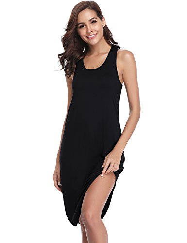 (Aiboria Women's Sleeveless Cotton Nightgown Soft Nightshirt Sleepwear Racerback Sleep Dress)