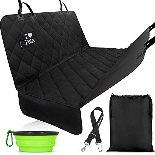 Starling's Dog Car Seat Covers - Pet Backseat Hammock Style Heavy Duty Waterproof Scratch Proof Nonslip Durable Pets Car Seat Cover for Cars Trucks and SUVs (W/Collapsible Dog Bowl, a Pet Seatbelt) (Dog Blanket For Car)