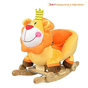 mw lovely baby rocking animal wooden rocking horse stroller ride on toy infant lion 2 baby nursery cool bee animal rocking horse