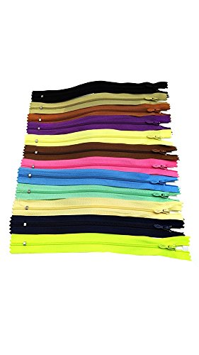 J & ST JST 50 Pcs Mix 9 Inch Nylon Coil Zippers Crafter's Specical Classic Fancy Slider 24 Colors Assorted New