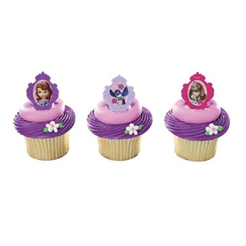 SOFIA the FIRST Sophia PRINCESS (24) Party CUPCAKE Favor TOPPER Decor RINGS -