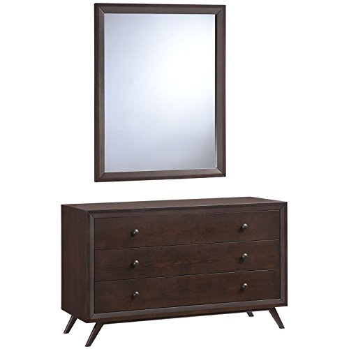 Modway Tracy Mid-Century Modern Dresser and Mirror in Cappuccino