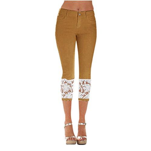 具体的に個人的な旋回Women's Lace Skinny Jeans Slim Lace 7/8 Stretch Denim Pants Leggings Cropped Trousers