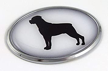Rottweiler Dog Breeds 3D Chrome emblem Pet Decal Car Auto Truck Sticker Oval