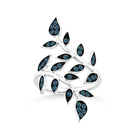 Pave Set Blue Diamond Olive Leaf Vine Ring in 14K White Gold (Color: Blue, Clarity: Slightly (Leaf Ring White Gold)