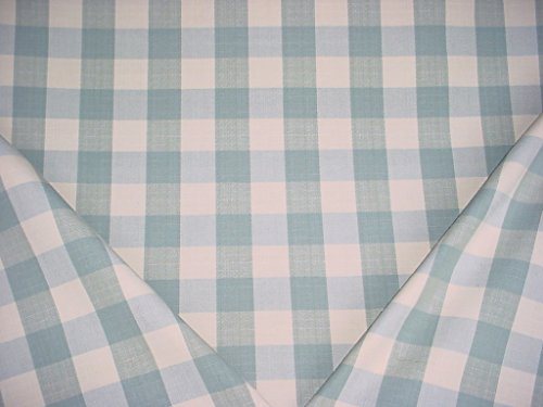 167H4 - Spruce / Natural White Woven Cotton Picnic Check / Plaid Designer Upholstery Drapery Fabric - By the ()