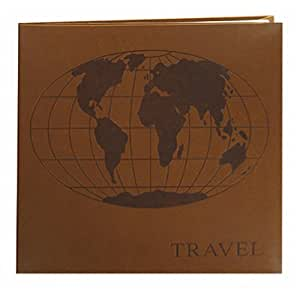 Pioneer Photo Albums Embossed World Map Leatherette Cover Memory Book, 8 by 8-Inch, Brown