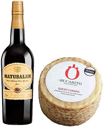 Pack de Vino Oloroso Dulce Matusalem y Queso Curado Añejo Pasteurizado - Vino de 75 cl y Queso de 800 g aprox - Mezclanza