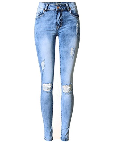 Blu Scarni Strappati Jeans Pantaloni Donne Sigaretta X8qwBxSwR