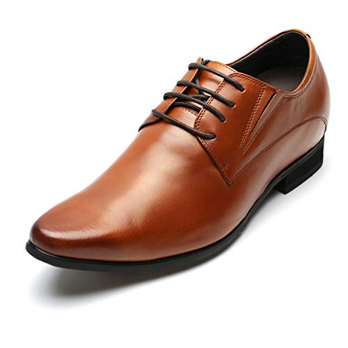 CHAMARIPA Men's Oxford Leather Height Increasing Elevator Shoes 3.15'' Taller H62D11K011D (9 D(M) US, Brown)
