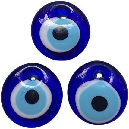 3 ojos turco para colgar- cristal contra el mal de ojo azul y blanco y para la buena suerte, 4 cm de diametro con agujero