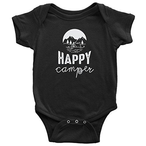VigorDesign Happy Camper Risk Short Sleeve Onesie 100% Cotton for Infants
