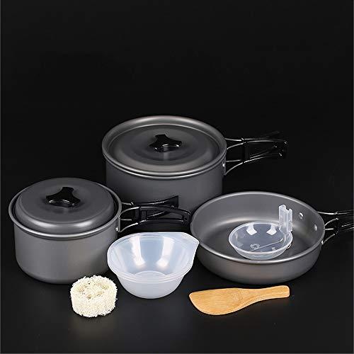 Outdoor Pot Portable Cookware Set Aluminum Kettle Set Pot Hanging Pot (Color : J)