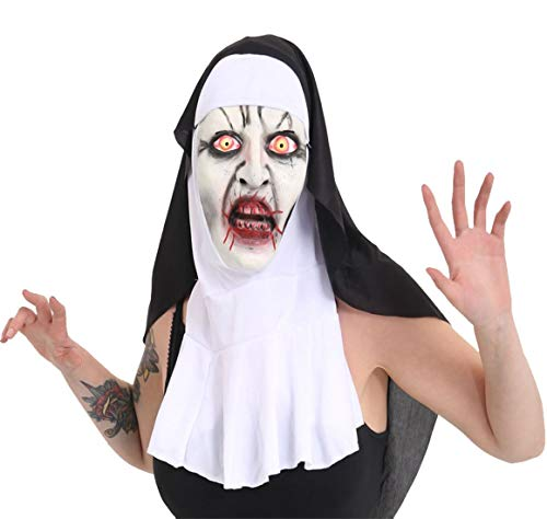 Rimi Hanger Adult Scary Horror Nun Face Mask Unisex Halloween Party Fancy Dress Accessory One Size -