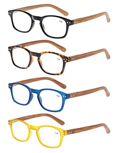 4 Pack Reading Glasses 1.75 Fashion Wood-Look Spring Hinges Stylish Readers Men ()