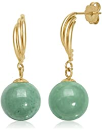 14k Yellow Gold Natural Green Jade Drop Dangle Swirl Earrings
