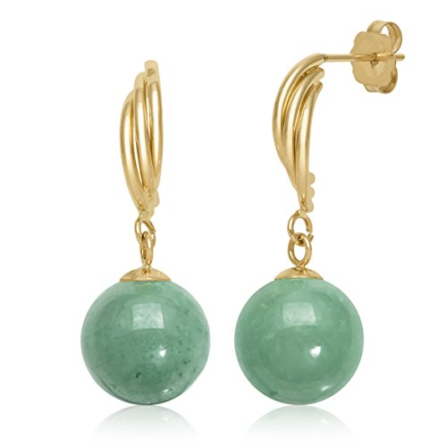 14k Yellow Gold Natural Green Jade Drop Dangle Swirl Earrings (Natural Gold 14k Green)