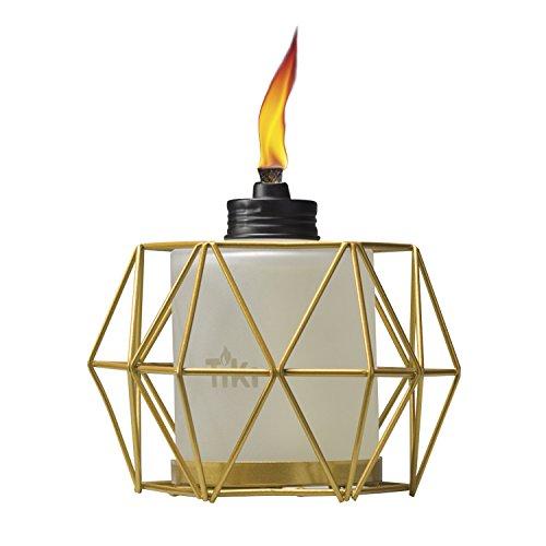 TIKI Brand 5.5-Inch Geo Globe Metal Table Torch, Gold
