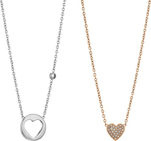 Pendant Rose Fossil (Fossil Women's Double Heart Two-Tone Steel Chain Necklace, Color: Rose Gold)