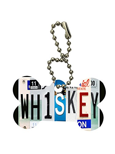 Whiskey Tennessee License Plates Dog Bone Keychain by Moonlight Printing