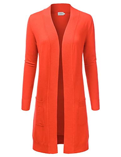 JJ Perfection Womens Light Weight Long Sleeve Open Front Long Cardigan Orange L