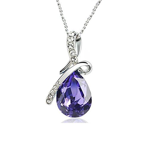 Usstore Women Lady Rhinestone Chain Crystal Pendant Necklace Jewelry Gift (Purple (Cheap Costumes Jewellery)