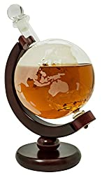 Whiskey Decanter for Spirits or Wine - 650mL Decorative Etched Glass Globe Design - Dark Finished Wood Stand - Handcrafted Quality - Includes Bonus Bar Funnel from Barme