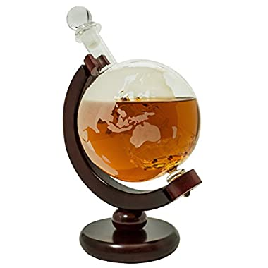 Whiskey Decanter for Spirits or Wine - 850mL Decorative Etched Glass Globe Design - Dark Finished Wood Stand - Handcrafted Quality - Includes Bonus Bar Funnel