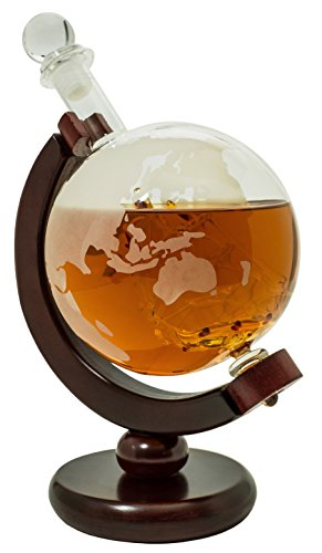 Whiskey Decanter with Dark Finished Wood Stand and Bar Funnel