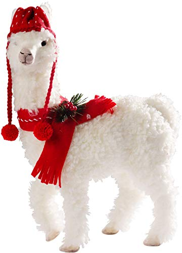 Llamas In Hats (Corner Merchant Christmas Llama in Festive Knit Hat and Scarf to Decorate Your Home for The Holidays 16.5 Inches)
