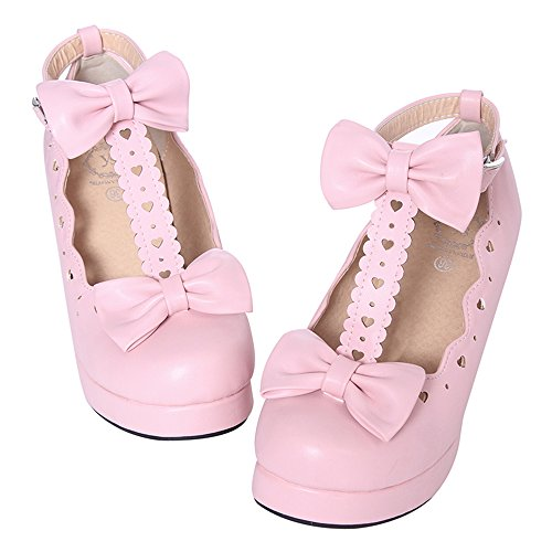 Lolita Shoes - Nuoqi Sweet Lolita Cosplay Round Toe Tea Platform High Chunky Heel Ankle-High Shoes