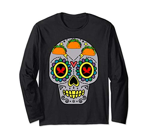 (Mexican Sugar Skull Calavera with Tacos and Chili Pepper Long Sleeve T-Shirt)