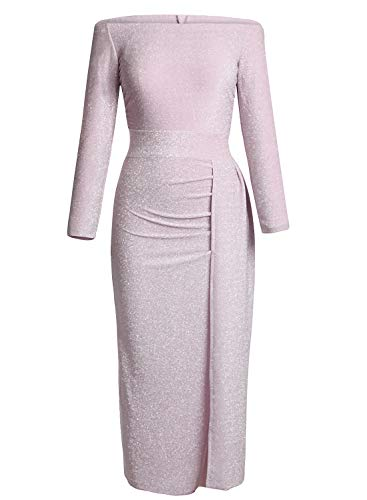 Happy Sailed Women Off Shoulder Ruched Metallic Knit High Slit Evening Party Cocktail Dress (Medium, Light Pink)