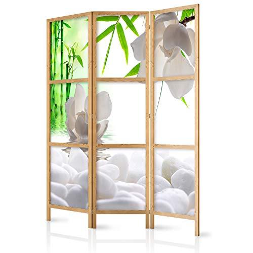 murando – Paravent Blumen Bambus Spa 135×171 cm 3-teilig einseitig eleganter Sichtschutz Raumteiler Trennwand Raumtrenner Holz Design Motiv Deko Home Office Japan p-B-0036-z-b