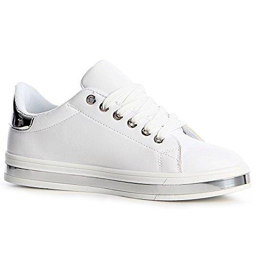 Blanc Femmes Sport Topschuhe24 De Chaussures Sneaker AwxF4q