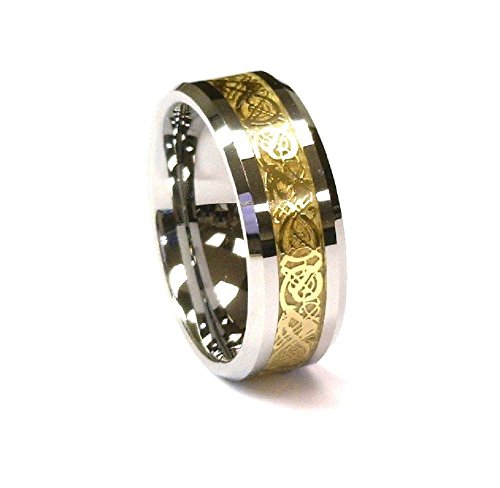 Gold Mens Celtic Ring (8Mm Gold Celtic Dragon Tungsten Carbide Ring Mens Jewelry Wedding Band CJTU268-14)
