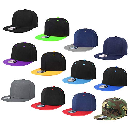 c7ef29705d23b3 Falari Wholesale 12 Pack Snapback Hat Cap Hip Hop Style Flat Bill Blank  Solid Color Adjustable Size G212-Assorted2