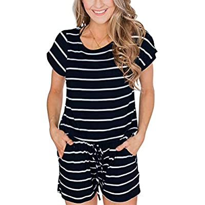 AnniBlue Women's Summer Short Sleeve Casual Rompers with Pockets Loose Striped Jumpsuit