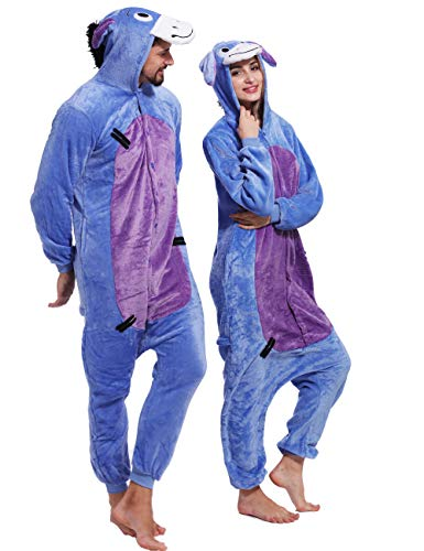 Eeyore Costumes For Adults (Adult Eeyore Donkey Onesies Cosplay Animal Pajamas Chrismas Homewear Sleepwear)