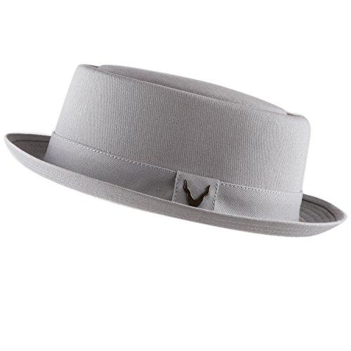 THE HAT DEPOT Black Horn Cotton Plain Pork Pie Hat (Large, Grey) by THE HAT DEPOT (Image #2)