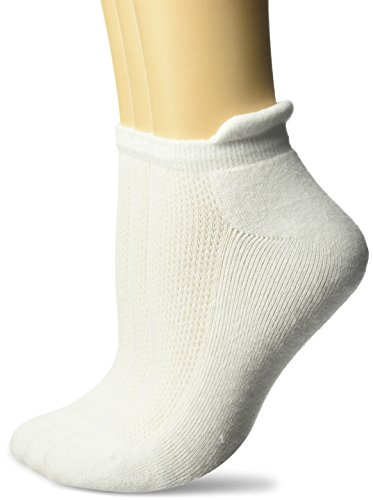 Fruit of the Loom Women's Made in USA 3-Pack Cotton Stretch Low Cut Tab Sock, White, Shoe Size: 4-10 ()