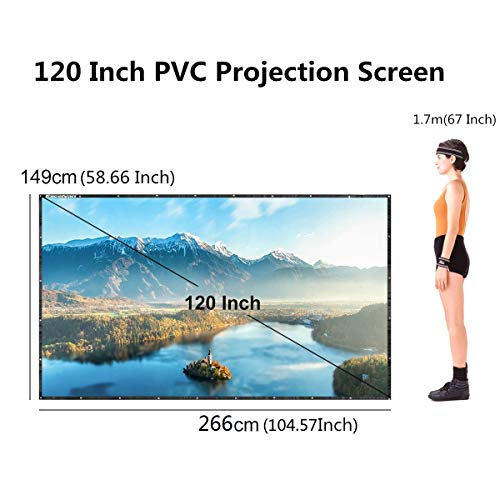 120 Inch 16:9 Portable Projector Screen High Contrast Collapsible PVC HD 4K Design with Hanging Hole Grommets for Front Projection Home Indoor and Outdoor Movie Match Party by Excelvan (Image #6)