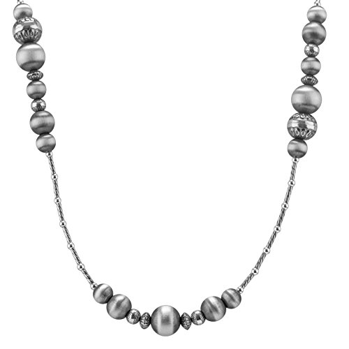 American West Genuine .925 Sterling Silver 36'' Beaded Station Necklace by American West