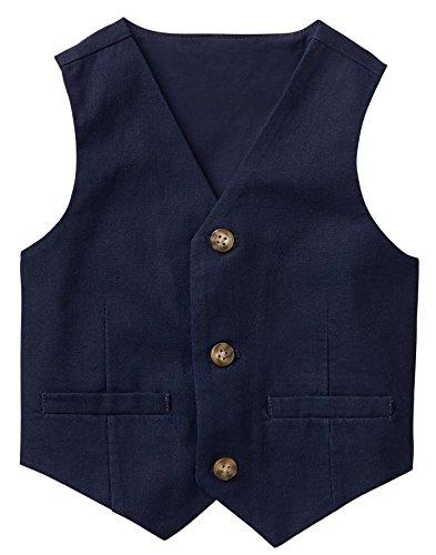 (Gymboree Baby Boys 3-Button Linen Vest, Navy 3T)