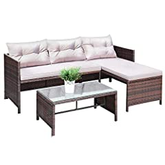 Product descriptionTangkula 3-piece outdoor wicker furniture is great additional to your outdoor space. The set includes 1 loveseat sofa, 1 chaise lounge and coffee table. The set can be arranged in different ways to fit your space. With soft...