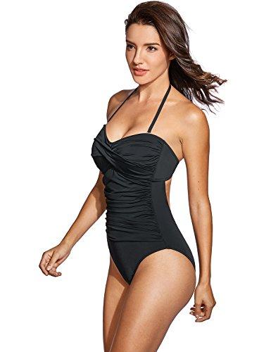 (DOBREVA Women's One Piece Removable Halter Strap Bandeau Swimsuit Swimwear Black US 4-6)