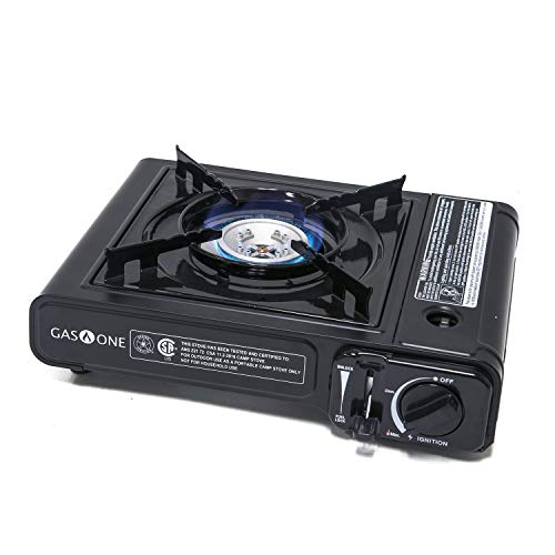 Gas Stove Cook - Gas ONE GS-1000 7,650 BTU Portable Butane Gas Stove Automatic Ignition with Carrying Case, CSA Listed (Stove)